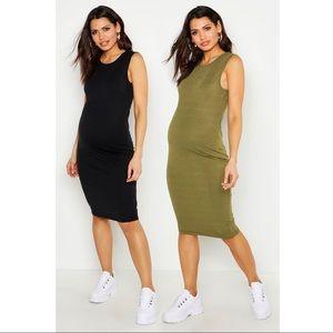 New set of two maternity tank dresses green black